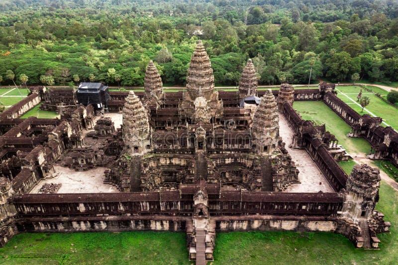 Висок Angkor Wat в Siem Reap, Камбодже, виде с воздуха стоковое фото rf