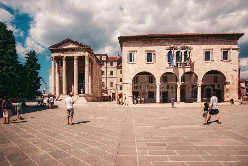 Висок Augustus в форуме в пулах Хорватии стоковое фото rf