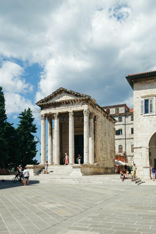 Висок Augustus на форуме на пулах Хорватии стоковая фотография rf