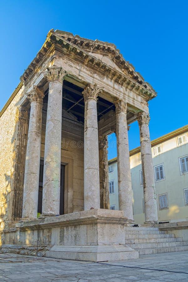 Висок Augustus, пула, Хорватия стоковые фотографии rf
