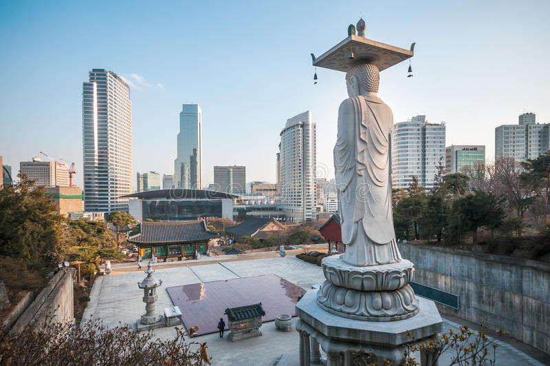Висок Bongeunsa, Сеул, Корея стоковое фото rf