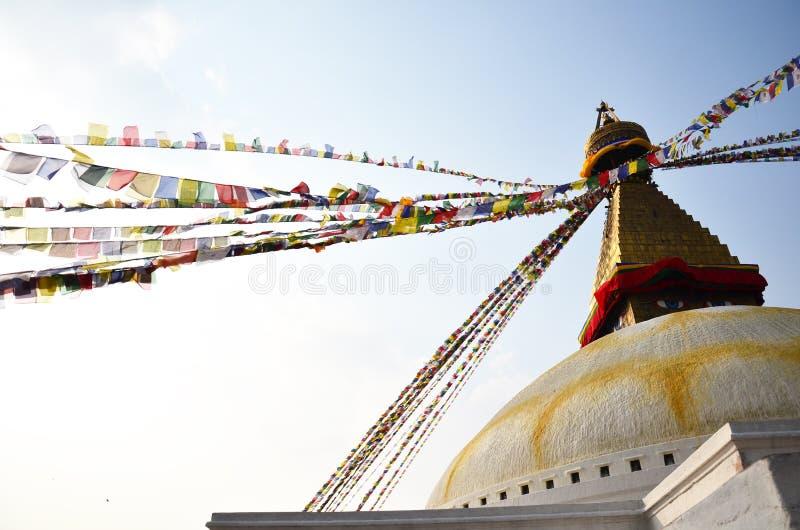 Висок Boudhanath с Буддой наблюдает или премудрость наблюдает на Катманду Непале стоковое изображение