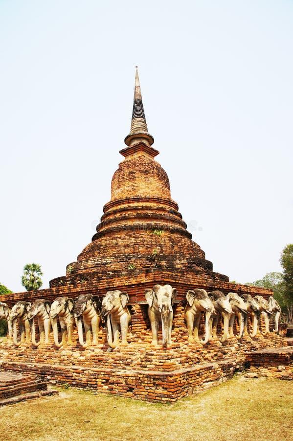 Висок Chang Lom, провинция Sukhothai, Таиланд стоковое изображение rf