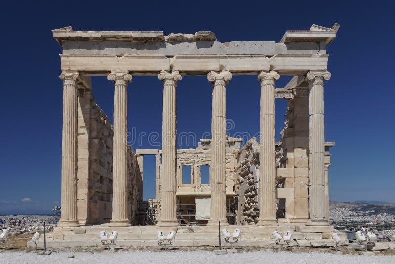 Висок Erechtheion, акрополь Афин стоковые фотографии rf