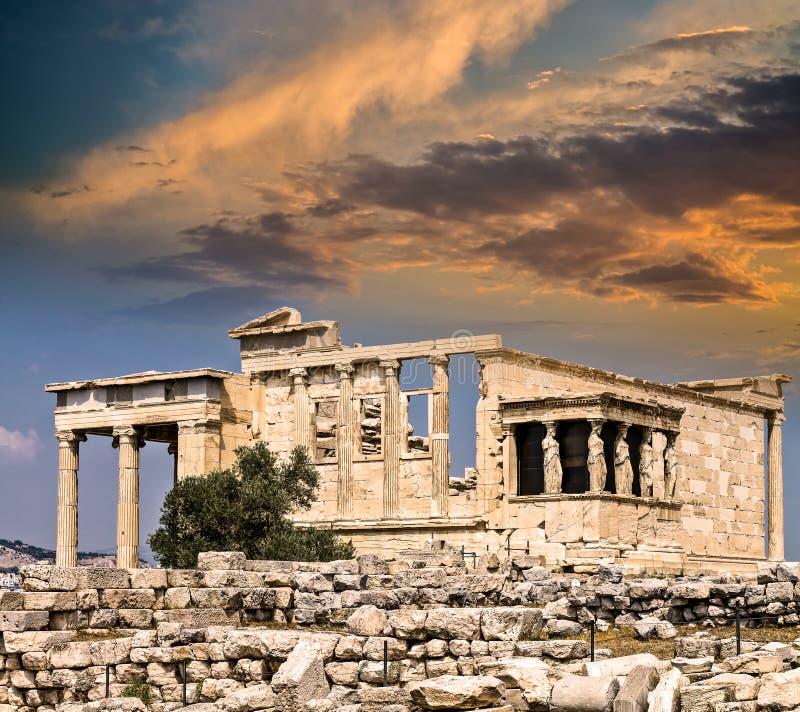 Висок Erechtheum, акрополя, Афин стоковое изображение rf