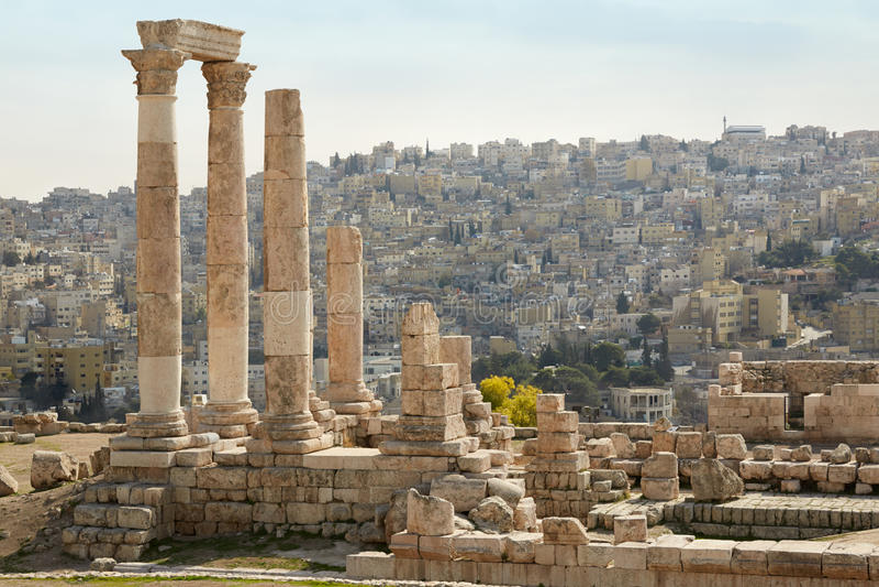 Висок hercules на цитадели Аммана, Джордана стоковая фотография rf