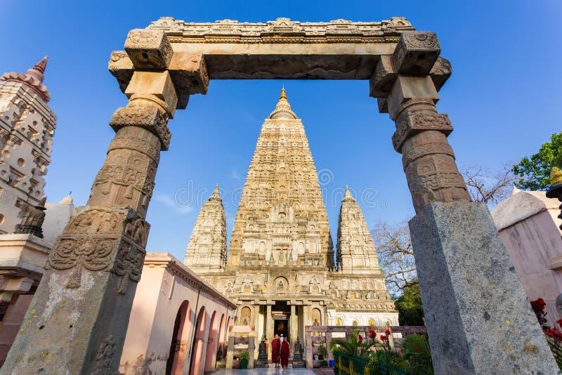 Висок Mahabodhi, gaya bodh, Индия стоковая фотография