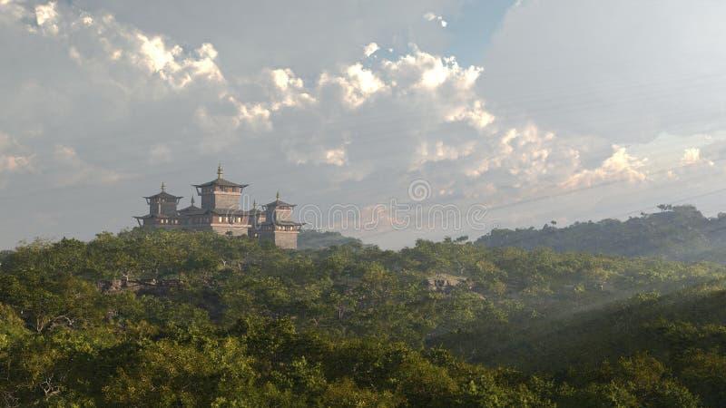 висок oriental фантазии замока иллюстрация вектора