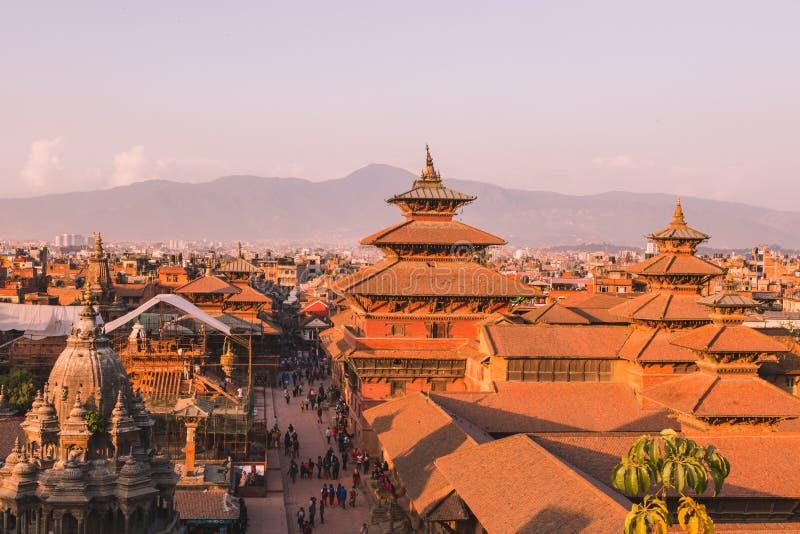 Висок Patan, квадрат Patan Durbar расположен в центр Lalitpur, Непала Оно один из 3 квадратов Durbar в стоковое изображение