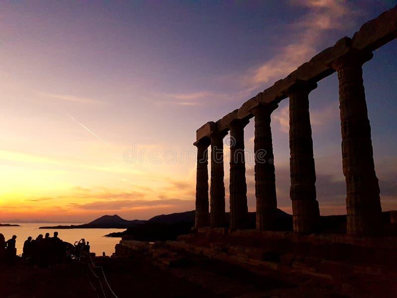 Висок Poseidon в Sounio Греции стоковые фотографии rf