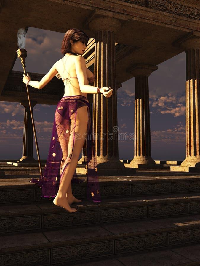 висок priestess фантазии иллюстрация вектора