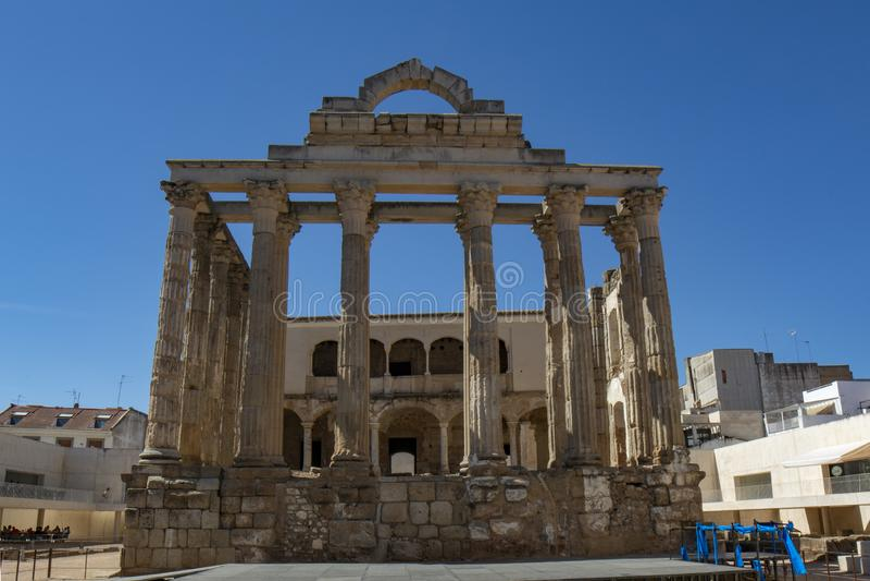 Висок ` s Дианы, римское наследие в Мериде, Испании стоковое фото