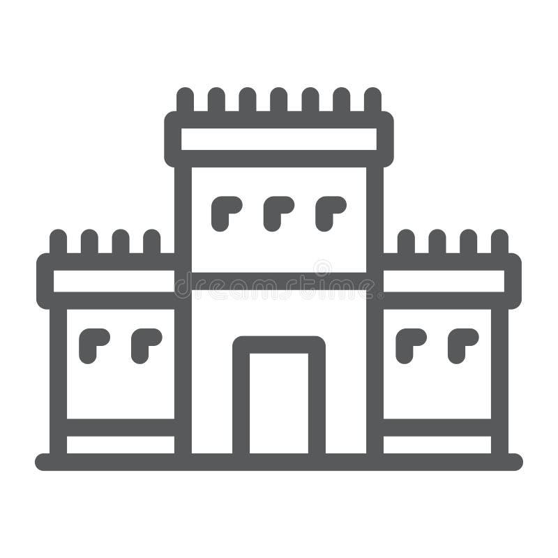 Висок Solomon на линии значке Иерусалима, вероисповедании и иврите, еврейском знаке tabernacle, векторных графиках, линейной карт бесплатная иллюстрация