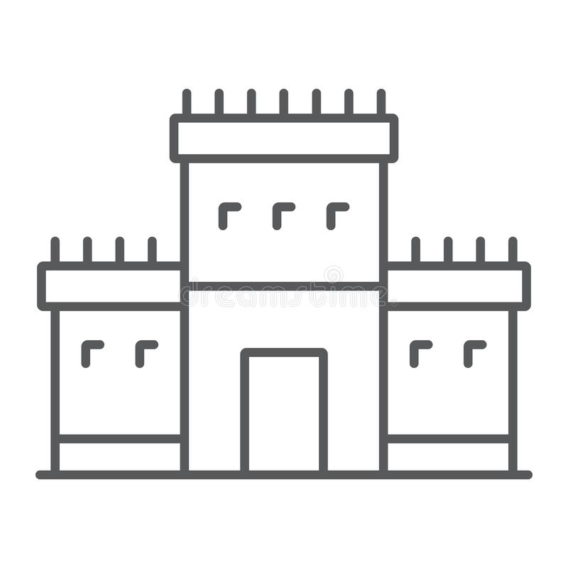 Висок Solomon на линии значке Иерусалима тонкой, вероисповедании и иврите, еврейском знаке tabernacle, векторных графиках, линейн иллюстрация штока