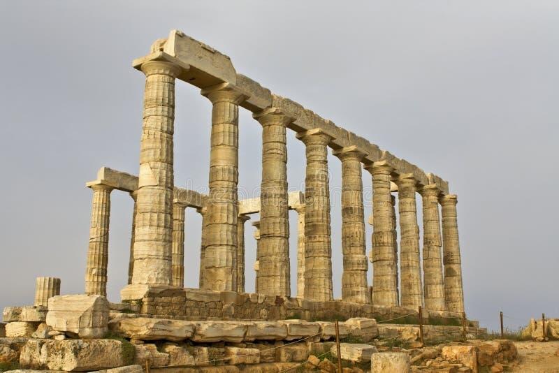 висок sounio poseidon Греции плащи-накидк стоковое изображение