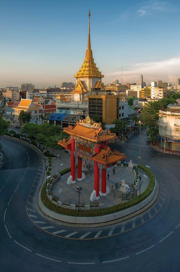 Висок Traimit в полдень, Бангкок, Таиланд стоковое изображение