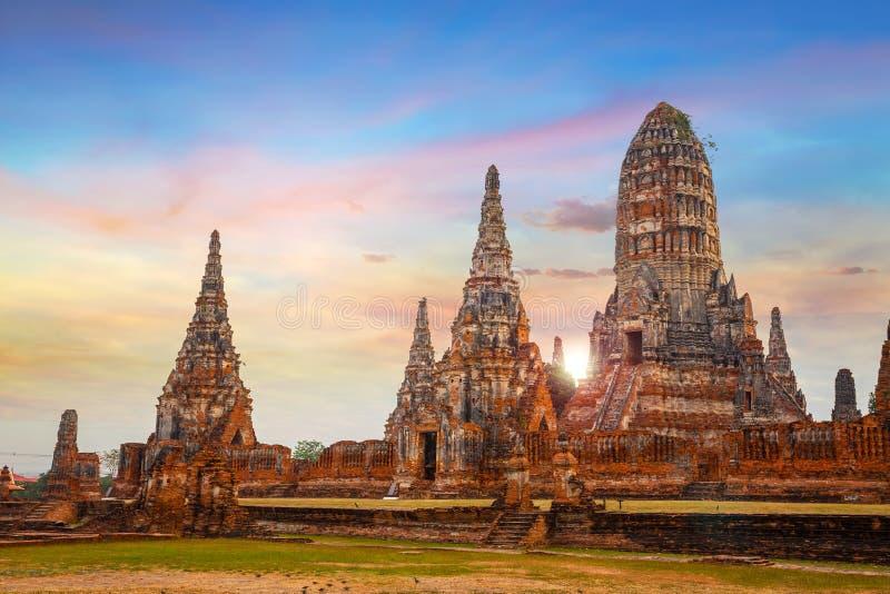 Висок Wat Chaiwatthanaram в парке Ayuthaya историческом, Таиланде стоковые фото