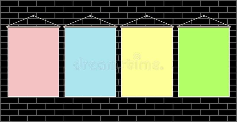 4 вися красочных листа для объявления, примечания бесплатная иллюстрация