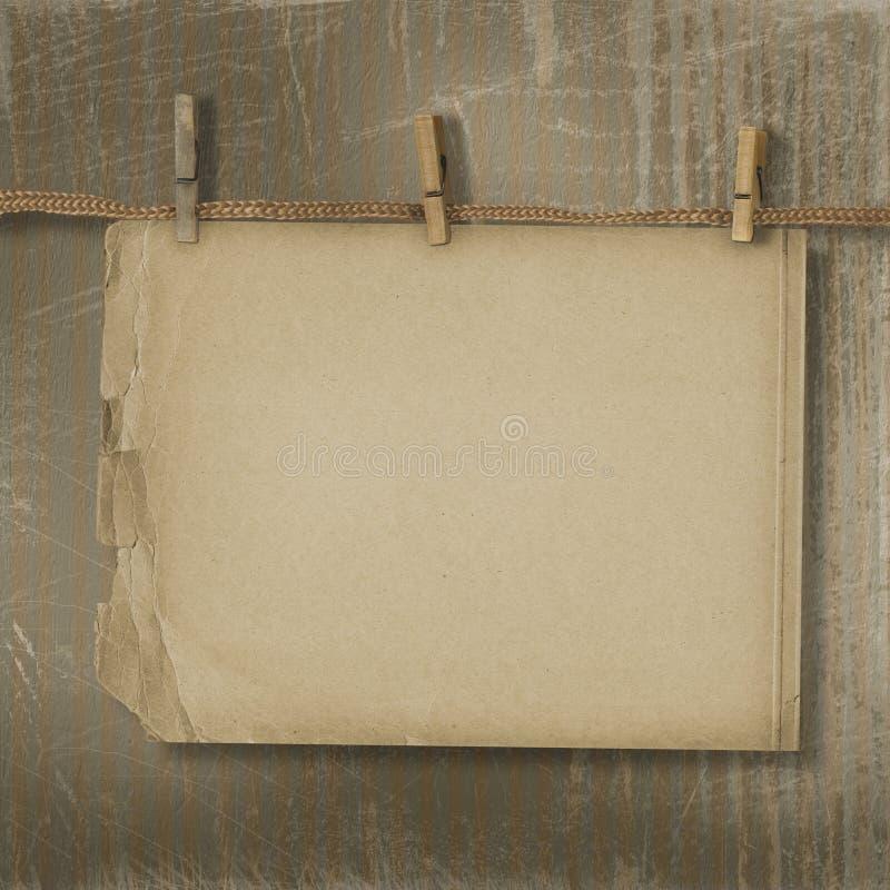 вися старый бумажный рядок иллюстрация вектора