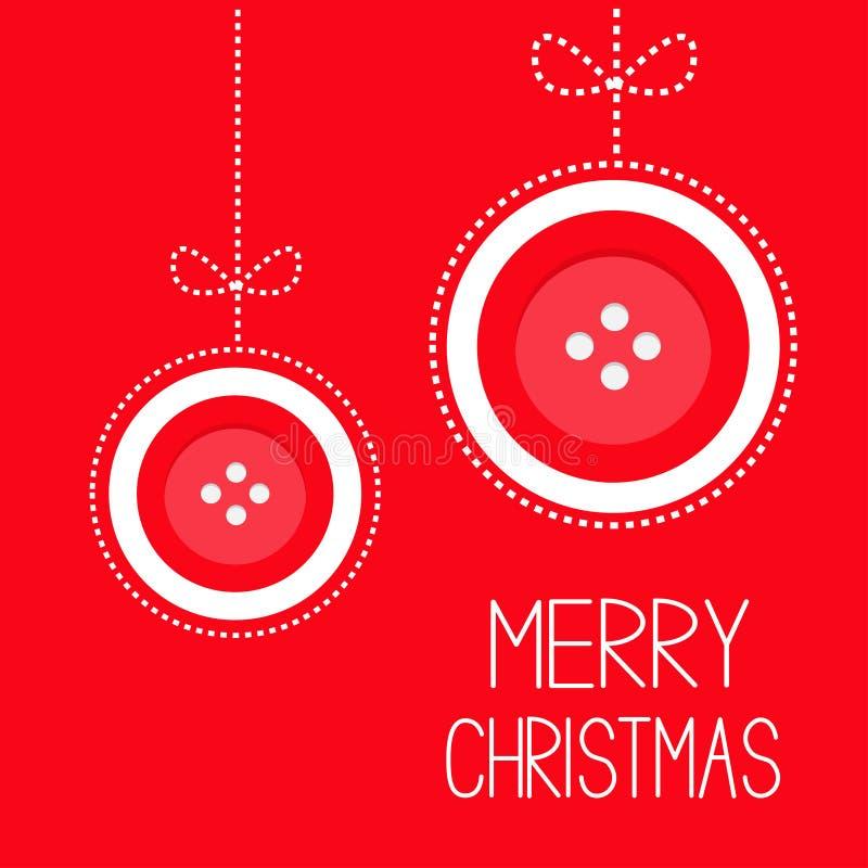 Вися шарик красной кнопки 2 с Рождеством Христовым с штриховым пунктиром смычка thred дизайн карточки applique плоский иллюстрация штока