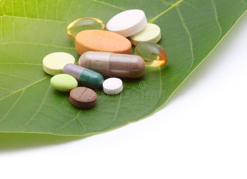 витамины таблеток пилек листьев стоковые фотографии rf