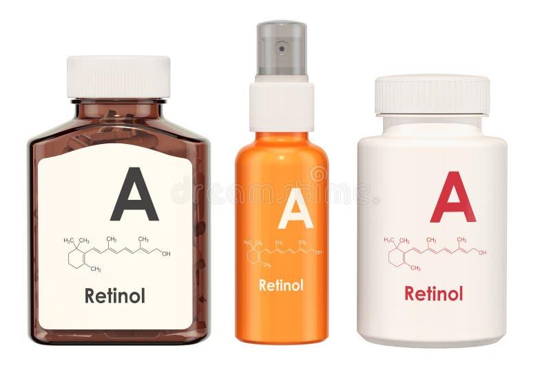 Витамин A, ретинол Медицинские бутылки с пилюльками и бутылкой брызга, бесплатная иллюстрация