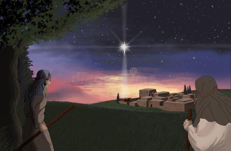 Вифлеем над звездой иллюстрация штока