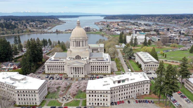 Вишневые цвета весны на здании столицы государства в Олимпии Вашингтоне стоковые фото