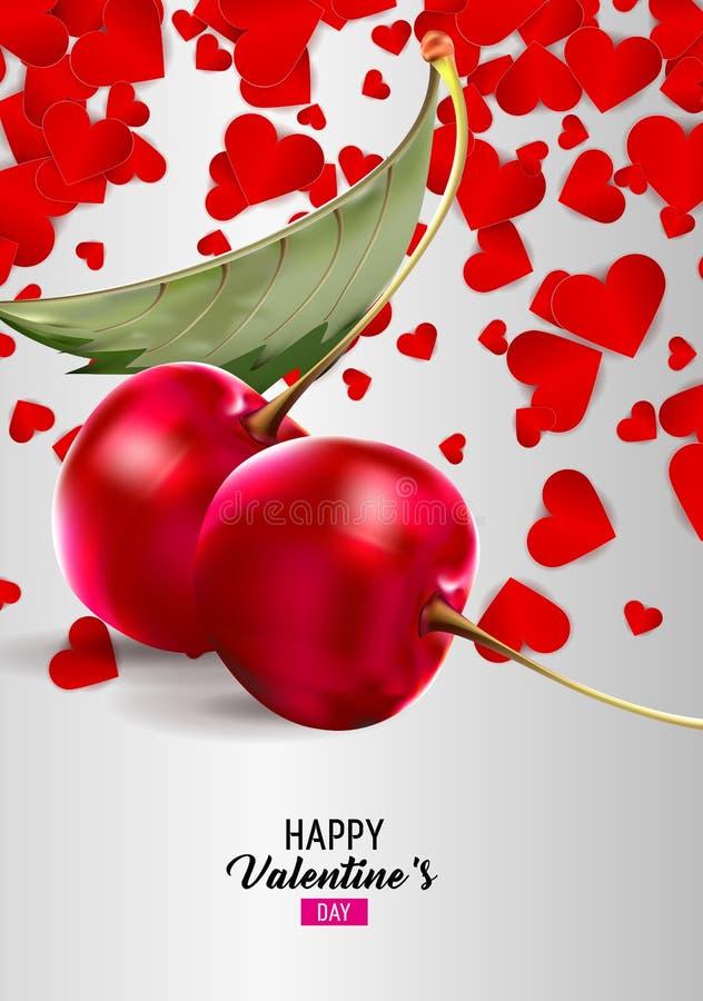 Вишни в поздравительной открытке влюбленности бесплатная иллюстрация