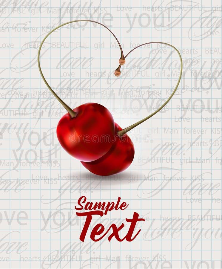 Вишни в поздравительной открытке влюбленности иллюстрация вектора