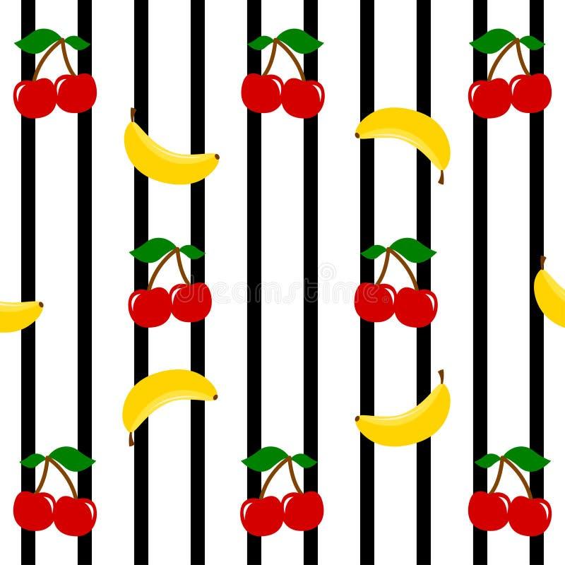 Вишни и бананы на черноте stripes предпосылка, безшовная картина Fruits предпосылка бесплатная иллюстрация