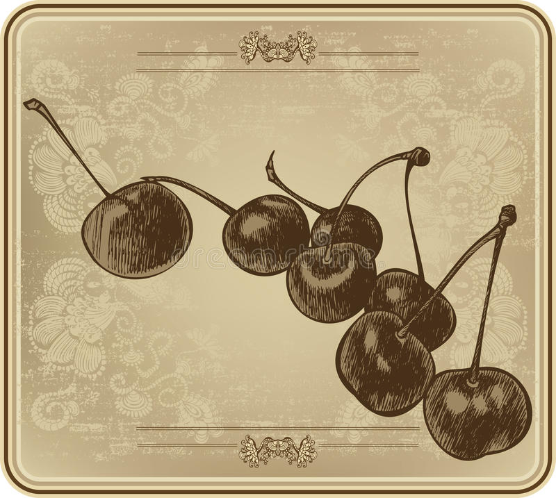 Вишни с винтажной рамкой, рук-чертежом также вектор иллюстрации притяжки corel бесплатная иллюстрация