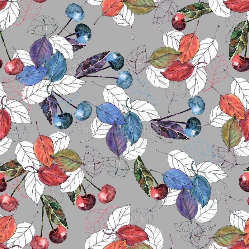 Вишня акварели с листьями на серой предпосылке Безшовная картина для дизайна иллюстрация штока