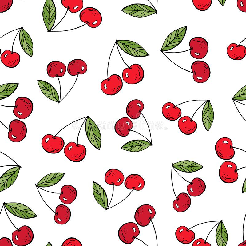 Cherries Hand drawing vector illustration