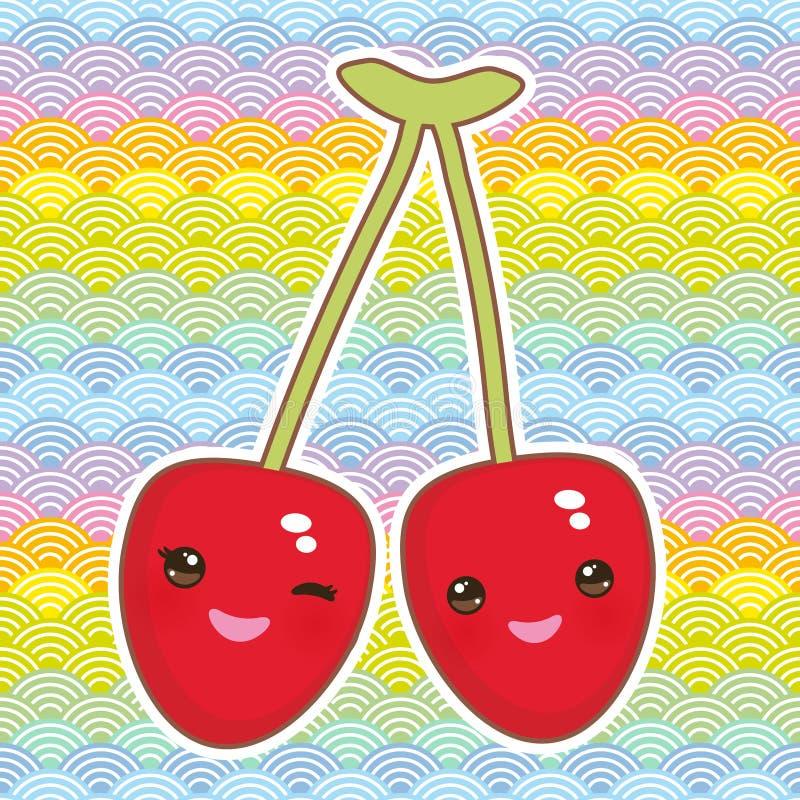 Вишня Kawaii зрелая красная с розовыми щеками подмигивая глазам на предпосылке природы весны конспекта картины радуги простой с к иллюстрация вектора