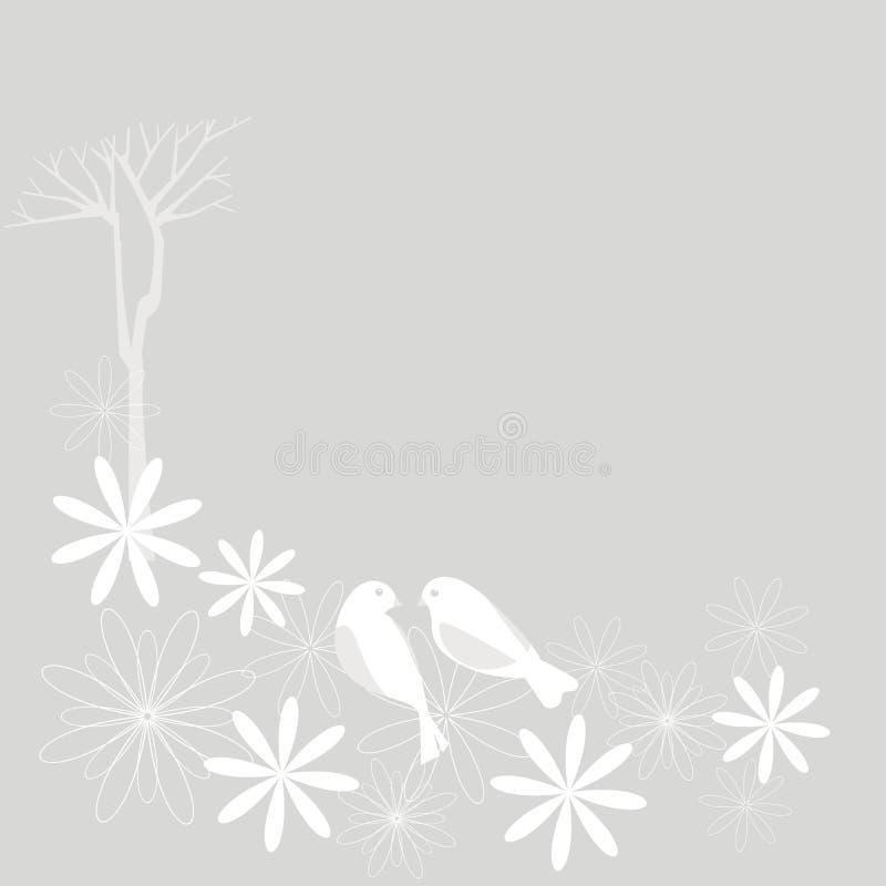 вишня sakura цветения птиц иллюстрация вектора