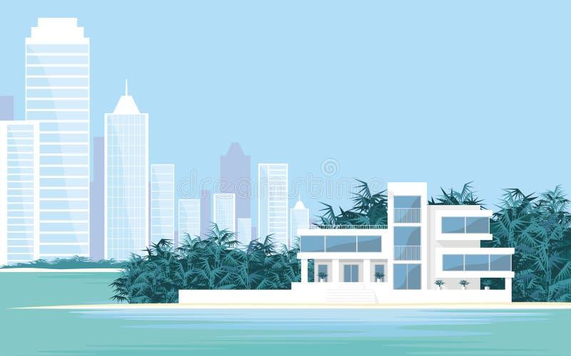 Вилла и большой город иллюстрация штока