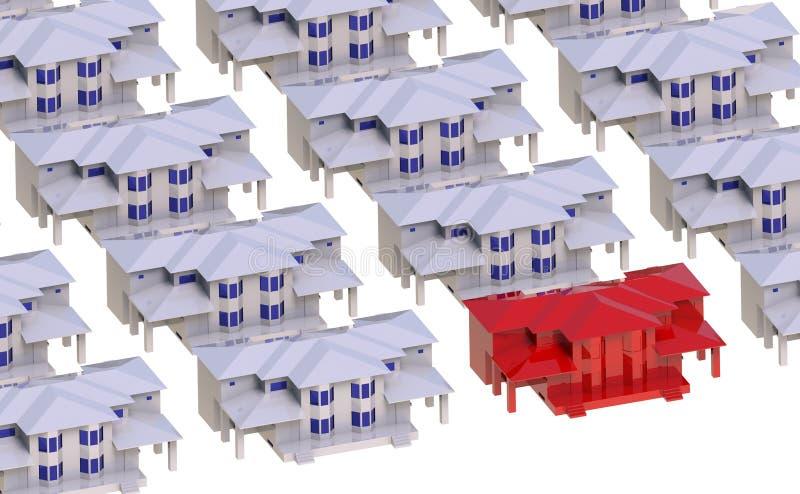 Вилла окруженная домами красного света бесплатная иллюстрация
