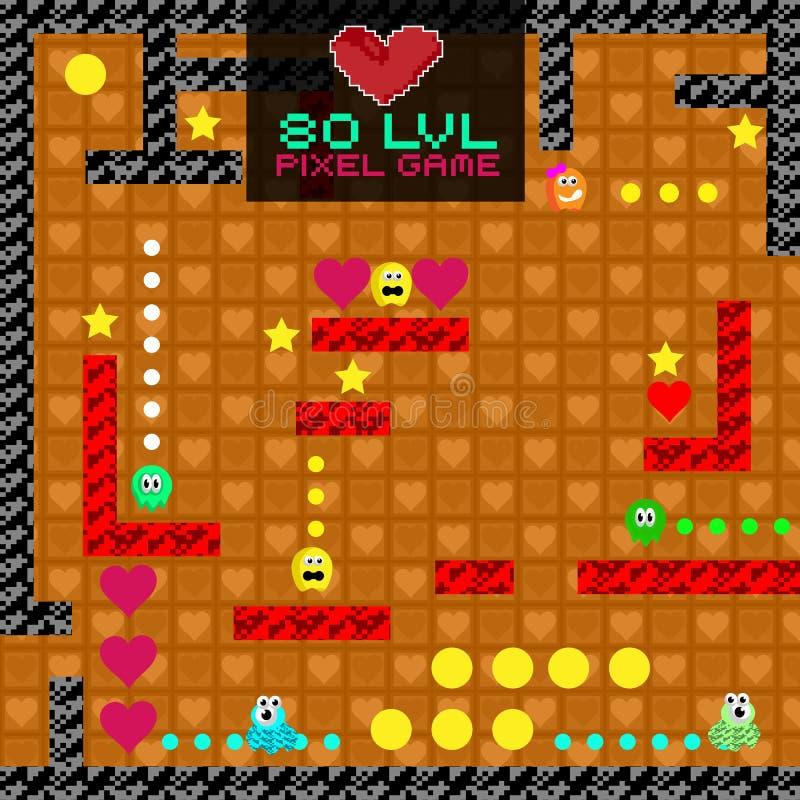 видеоигра 8-разрядного пиксела ретро Старый дизайн видеоигры бесплатная иллюстрация
