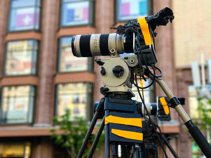 Видеооборудование профессионала камкордера стоковые фотографии rf