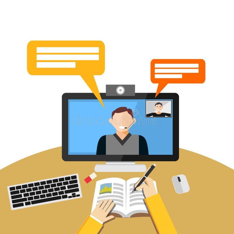 Видео- звонок или конференция на компьютере Сеть binar или концепция консультации сети бесплатная иллюстрация