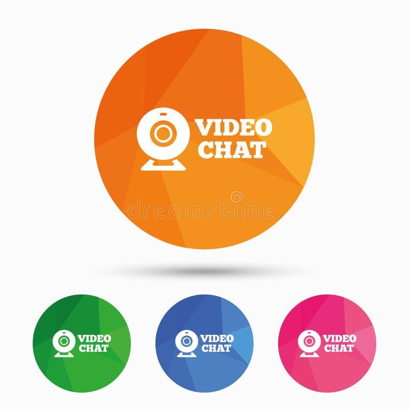 Видео- значок знака болтовни Беседа веб-камера видео- иллюстрация вектора