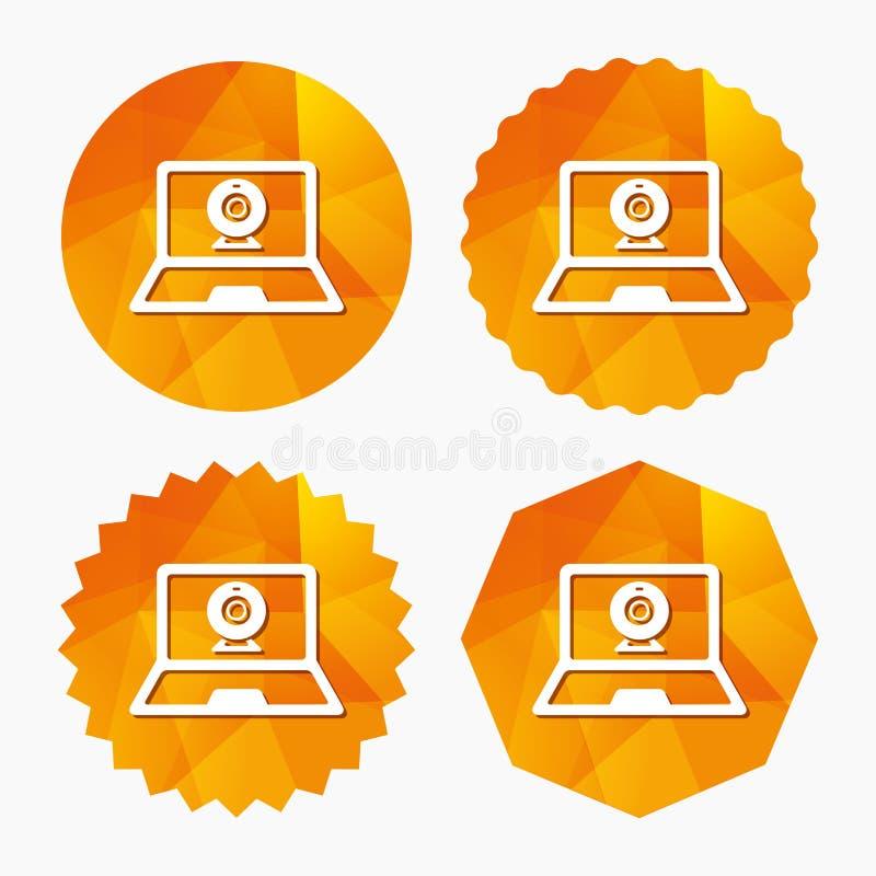 Видео- значок знака компьтер-книжки болтовни Беседа веб-камера иллюстрация вектора