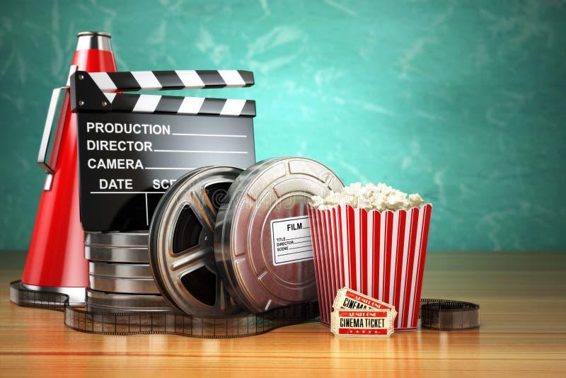 Видео, кино, концепция продукции кино винтажная Вьюрки фильма, cla бесплатная иллюстрация