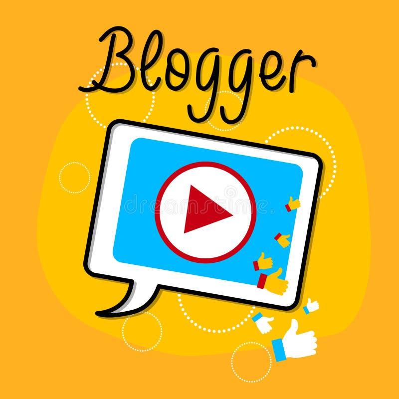 Видео- концепция Bloggind значка интерфейса игрока таблетки блога иллюстрация вектора