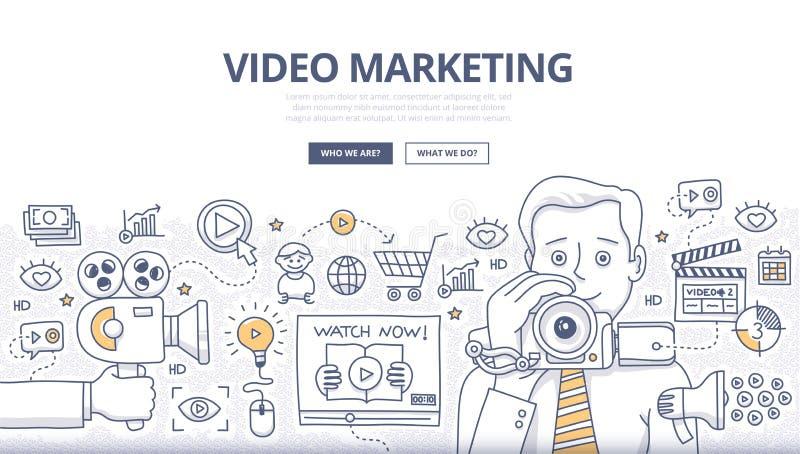 Видео- концепция Doodle маркетинга иллюстрация вектора