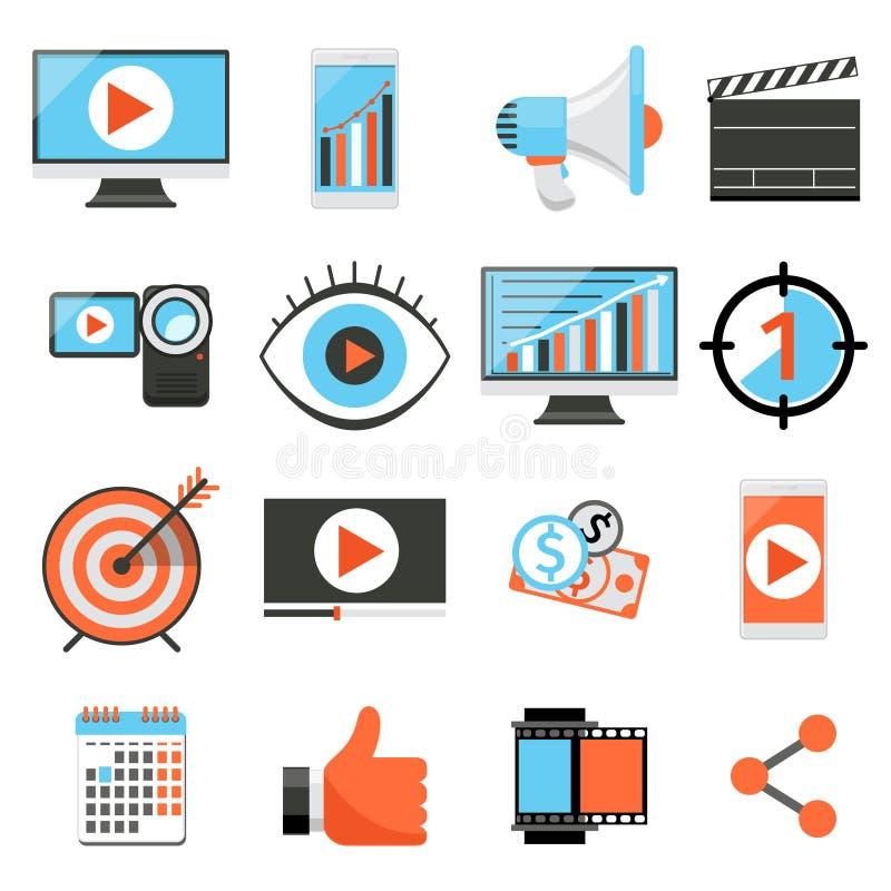 Видео- маркетинг и значки вектора цифровых социальных средств массовой информации плоские иллюстрация вектора