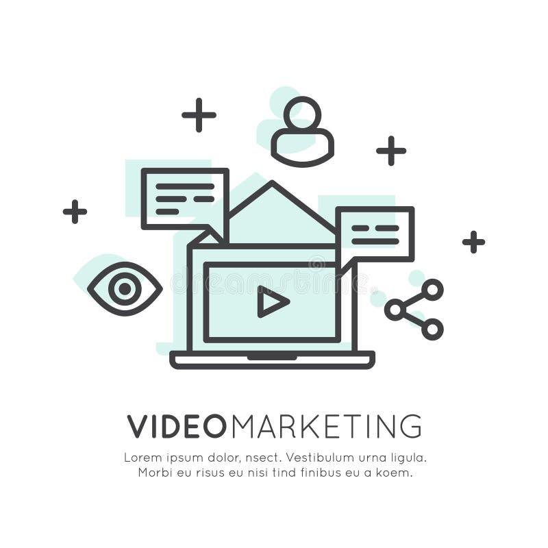 Видео- маркетинг, электронная почта интернета или передвижные уведомления бесплатная иллюстрация