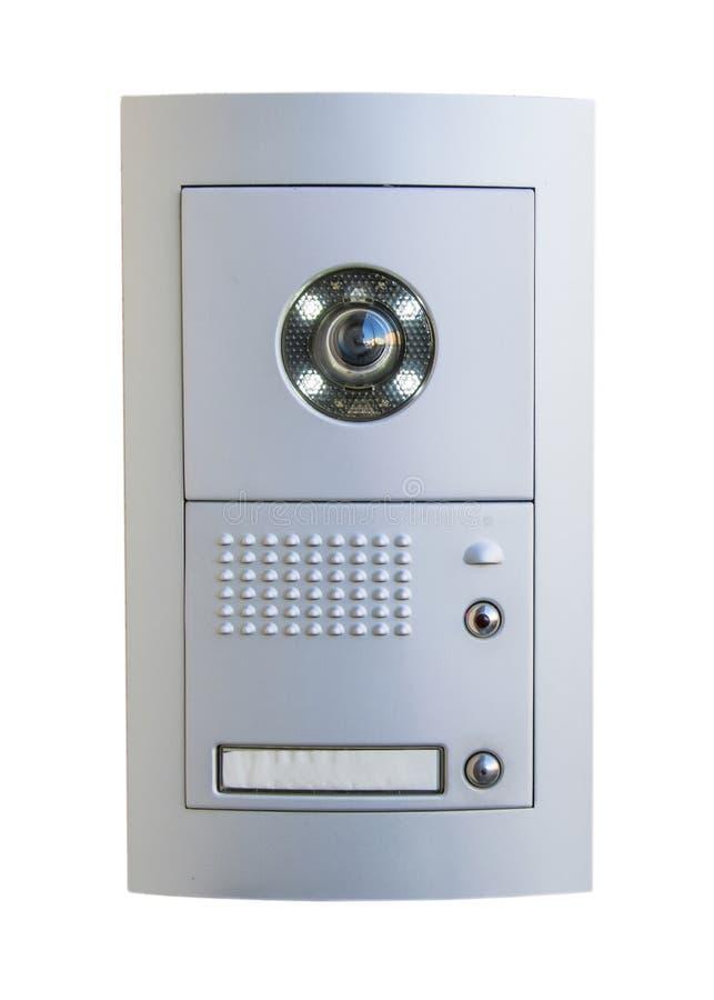 Видео- оборудование внутренной связи на белой предпосылке стоковое изображение