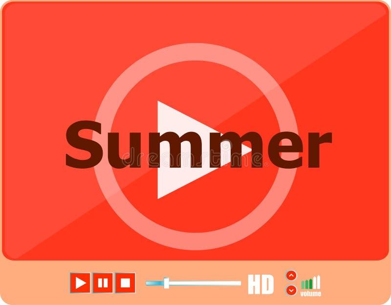 Видео-плейер для сети с летом слова на карточке его, праздника или технологии бесплатная иллюстрация